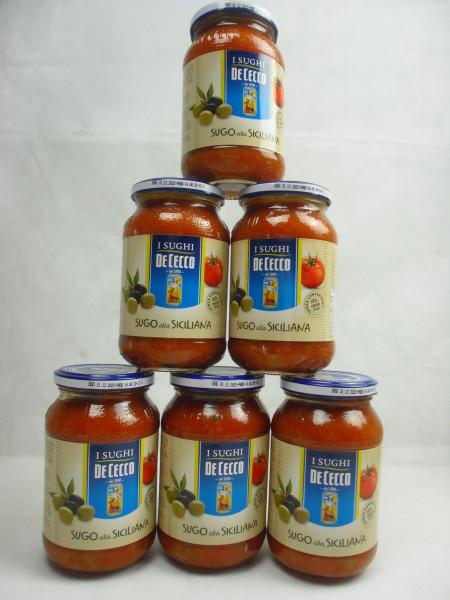 6 Gläser Tomatensauce Sugo alla Siciliana mit Oliven   De Cecco   2400ml.