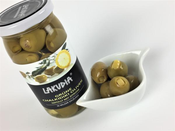 Grüne Chalkidiki Oliven gefüllt mit Zitrone in milder Salzlake   Lakudia 355g
