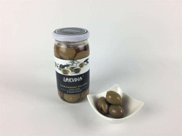 Grüne Chalkidiki Oliven ohne Kern in milder Salzlake | Lakudia 355g