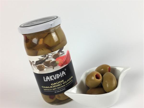 Grüne Chalkidiki Oliven gefüllt mit rotem Paprika in milder Salzlake | Lakudia 355g