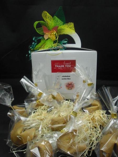 11 Glückskekse   Dankeschön Geschenkbox + Schleife