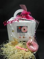 Dein Glücksdonut PINK + Geschenkbox mit Schleife + 1 Glückskeks