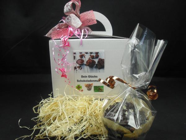 Dein Glücks Schokoladenmuffin + Geschenkbox mit Schleife + 1 Glückskeks