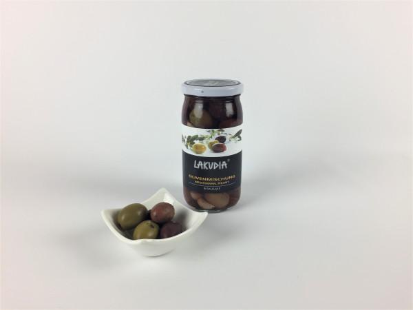 Olivenmischung Mediterran Pikant milder Salzlake | Lakudia 355g