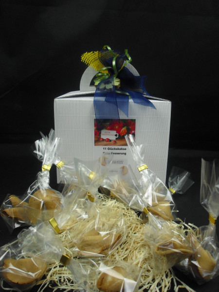 11 Gute Besserung Glückskekse + Geschenkbox + Schleife + Dein Name