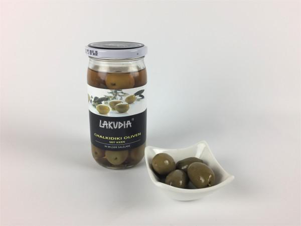 Grüne Chalkidiki Oliven mit Kern in milder Salzlake | Lakudia 355g