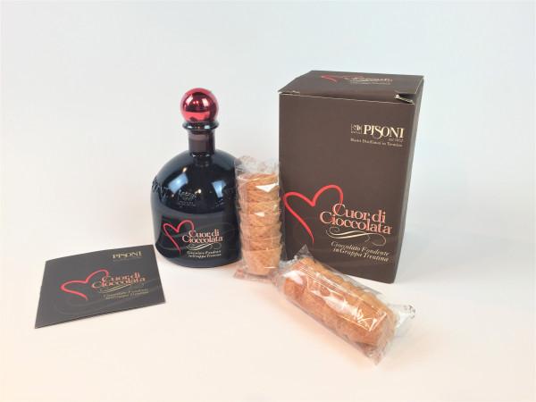 Cuor di Cioccolato von Pisoni der Schokoladenlikör in der Geschenkbox + 14 Waffeln | 17% | 0.5 L