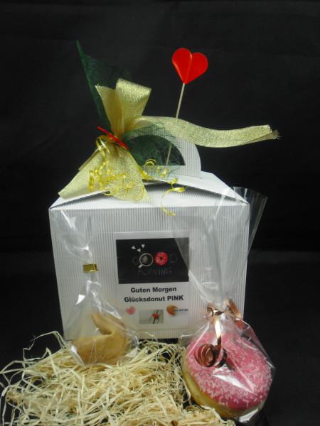Dein Guten Morgen Donut in PINK + Geschenkbox mit Schleife + 1 Glückskeks
