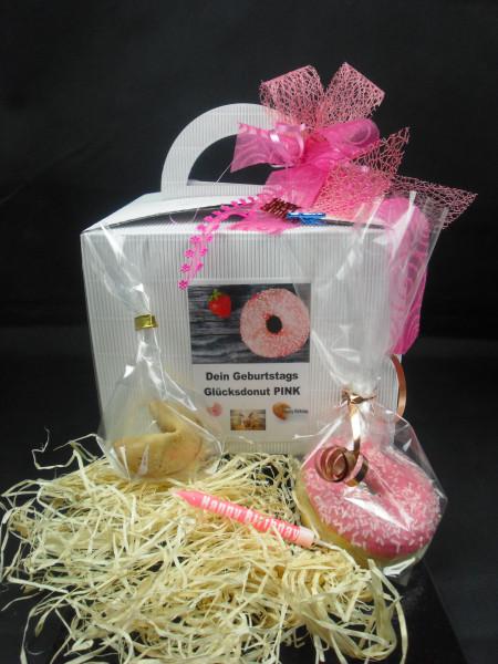 Dein Geburtstagsdonut PINK + Geschenkbox mit Schleife + 1 Glückskeks + Kerze