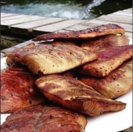 Filet vom Sibirischen Stör geräuchert | ohne Haut & Gräten | mindestens 140g