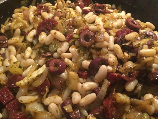 Zutatenblatt für   Lauwarmer weißer Bohnensalat mit Kapern & Chilisalami